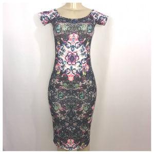 Multi-Color Floral Tie Dye Print Bodycon Dress Sz0